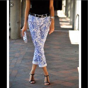 Denim - Blue/White Paisley Skinny Jeans H&M/LOGG
